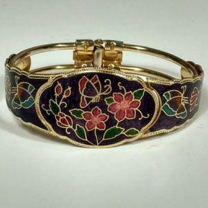 Vintage 1960's Hand Painted Cloisonné Bracelet